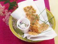 Deep-fried Goutweed Flowers with Herb Dip recipe