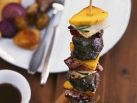 Deer Meat Skewer with Coffee Sauce and Fried Chestnut Potatoes recipe