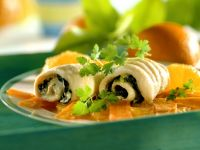Dover Sole Roulades with Spinach, Carrots and Oranges recipe