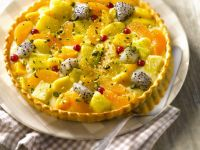 Dragon Fruit, Pineapple and Apricot Flan recipe