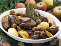 Duck and Potatoes Stew with Cherries and Apples