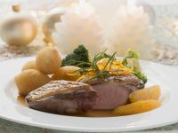 Duck Breast with Orange Sauce and Potato Croquettes recipe
