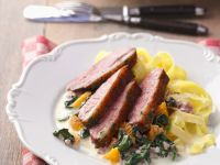 Duck Breast with Oranges, Spinach and Noodles recipe