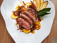 Duck Breast with Peaches and Caramelized Onions recipe