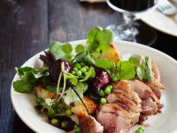 Duck Breast with Red Wine Sauce, Beets, Potatoes and Peas recipe