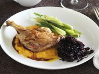 Duck Legs with Pumpkin Puree and Red Cabbage recipe