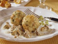 Dumplings with Burgundy Chanterelle Sauce recipe