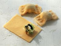 Dumplings with Cheese, Leek and Carrot Filling recipe