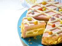 Easter Torte with Peach Filling and Raspberry Cream recipe