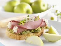 Edamame, Cream Cheese and Bologna Tartine recipe