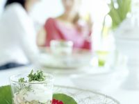 Egg Salad in a Glass with Cress and Boiled Ham recipe