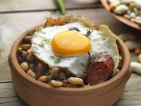 Egg with Cured Pork and Beans recipe