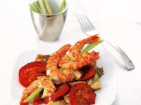 Eggplant and Tomatoes with Fried Prawns recipe