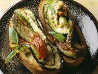 Eggplant and Zucchini Crostinis recipe