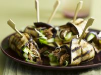 Eggplant Rolls with Cucumber and Lamb recipe