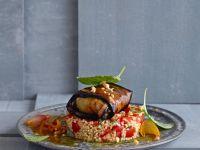 Eggplant Rolls with Feta on Bulgur recipe
