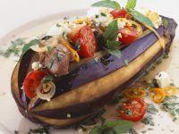 Eggplant Stuffed with Beef, Tomatoes and Feta recipe