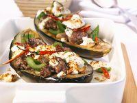 Eggplants Stuffed with Ground Beef and Feta recipe