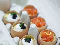 Eggs with Sour Cream, Caviar and Salmon recipe