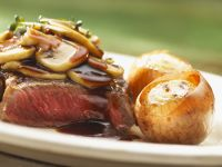 Entrecote Steak with Mushrooms and Whole Onions recipe