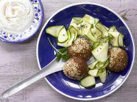 Falafel with Sesame-Yogurt Dip recipe
