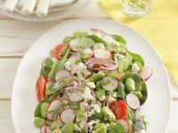 Broad Bean, Radish and Vegan Cheese Salad