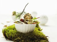 Fennel Salad with Pear, Dried Cranberries and Cream Cheese Balls recipe