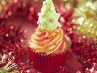 Festive Mini Muffins with Red and White Buttercream recipe