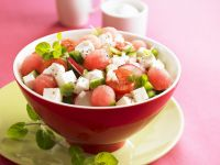 Feta and Watermelon Salad with Tomatoes recipe