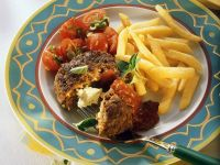 Feta-Filled Beef Patties with Fries and Tomatoes recipe