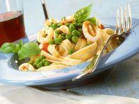 Fettuccine with Squid and Peas recipe