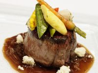 Filet Mignon with Baby Vegetables and Blue Cheese recipe