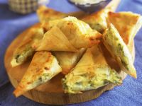 Filo Triangles Filled with Cheese and Vegetables recipe