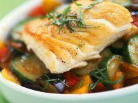 Firm White Fish over Veggie Gratin recipe
