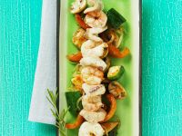 Fish and Shrimp Skewers with Vegetables recipe