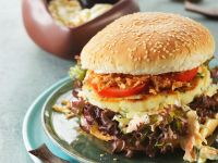 Fish Burger with Coleslaw and Fried Onions recipe