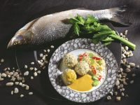 Fish Dumplings with Vegetable Rice and Curry Sauce recipe
