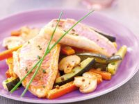 Fish Fillets on Mixed Vegetables recipe
