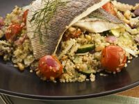 Fish Fillets with Quinoa and Cherry Tomatoes recipe