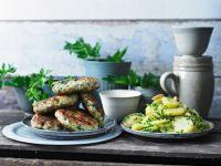 Fish Patties with Slices Potatoes recipe