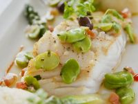 Fish with Broad Beans and Asparagus recipe
