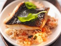 Fish with Crisp Skin on a Bed of Risotto recipe