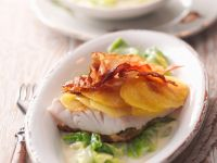 Fish with Potato Crust, Bacon and Savoy Cabbage recipe