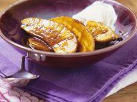 Flambéed Banana with Whipped Cream recipe