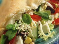 Flatbread Stuffed with Corn and Sprout Salad recipe