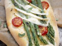 Flatbread with Asparagus, Cherry Tomatoes and Brie recipe