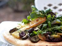 Flatbread with Eggplant, Halloumi and Olives recipe