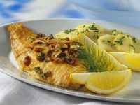 Flounder with Bacon Potato Salad