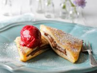French Toast with Nougat Cream and Raspberry Sorbet recipe