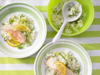 Fresh Salmon with Leek Risotto recipe